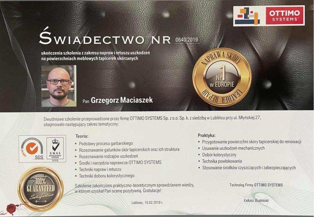 Certyfikat - Naprawa skór