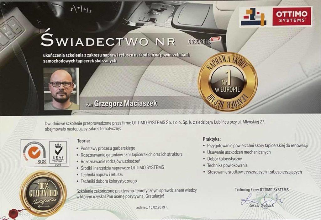 Certyfikat - Naprawa i retusz skór