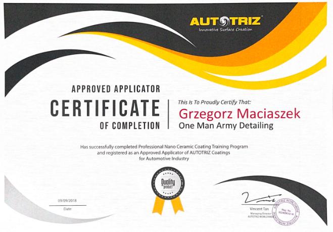 Certyfikat Autotriz